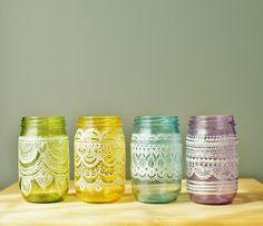 Festive Spring Mason Jars- Handpainted Moroccan Inspired Mason Jars with Pearl White Detailing. $95.00, via Etsy.