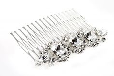 Silver plated comb, Swarovsky Crysta//Pettine in ottone argentato, strass Swarovsky Crystal  € 58,00  #wedding #bride #hair