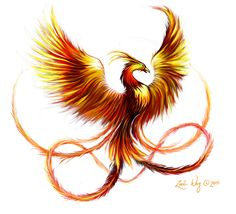 phoenix--I like that this one has actual feathers rather than feather-shaped flames.