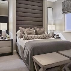 Al gray everything! Love that statement headboard. By @sophiepatersoninteriors