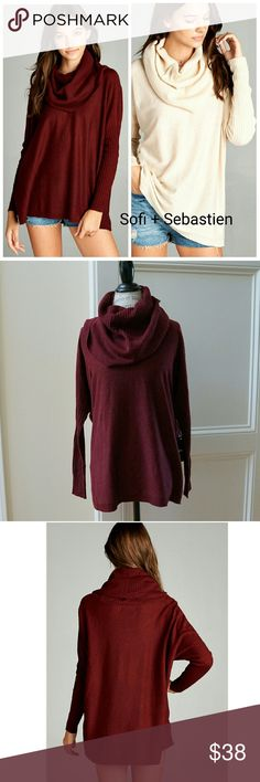 Slouchy fit cowl neck sweater wine dolman sleeves Sorry, NO TRADES  Price firm unless bundled  Save money and bundle! Save 10 percent on any bundle of 2 or more items! Sofi + Sebastien  Sweaters Cowl & Turtlenecks
