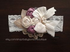 baptism headband, christening headband, wedding headband, bridal headband, rosette baby headband, flower girl, vintage headband