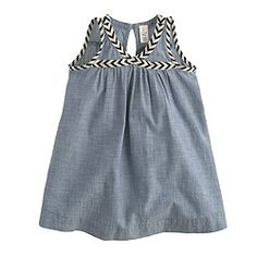 Baby dress in chambray with chevron trim