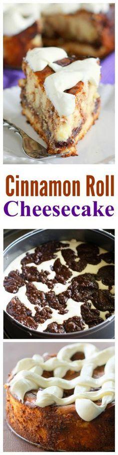 Cinnamon Roll Cheesecake - cinnamon roll batter swirled throughout cheesecake. One of my favorite recipes ever.Cinnamon Roll Cheesecake - cinnamon roll batter swirled throughout cheesecake.