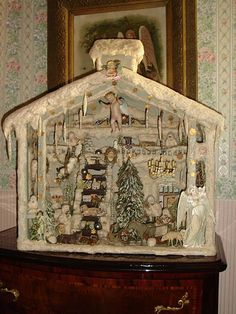 Vintage German Holiday Scene... I think I need to by a papier mache or doll house just for this