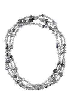 6-9mm Grey Freshwater Pearl Endless Necklace
