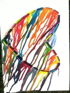 Heart shape melting crayons. Any shape would work!!