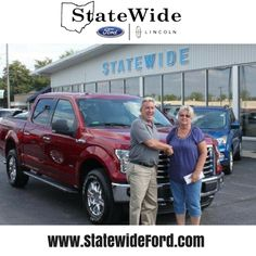 Nancy Riley taking delivery of her new Ford F-150 from Kurt Schalois. Thank you for your business!
