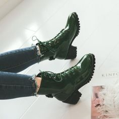 Fashion-Womens-Lace-Up-Shiny-Med-Block-Heels-Ankle-Boots-Biker-Shoes