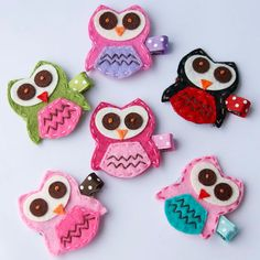 Felt owls on Etsy by MyLittlePixies. Now clips or headbands. Owl Crafts, Crafts For Kids, Arts And Crafts, Sewing Projects, Craft Projects, Projects To Try, Skinny Headbands, Felt Owls, Felt Animals