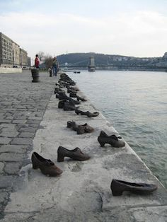 Iron shoes are pictured on the bank of the Danube on January 27, 2012, marking the Holocaust in Hungary. Hundreds of Hungarian Jews had to leave their shoes on the bank before they were shot into the river by Hungarian militaimen during the World War II. The United Nations declared in 2005 the Holocaust Memorial Day on January 27 to commemorate the 6 million Jews and other victims murdered by the Nazis.