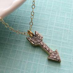Diamond Arrow Necklace Pavé Diamonds Diamond by ShopSomethingBlue