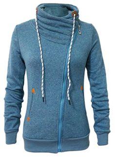2968fb361 Oberora Women Drawstring Stand Collar Oblique Zipper Fleece Lined  Sweatshirt Jacket at Amazon Women s Coats Shop