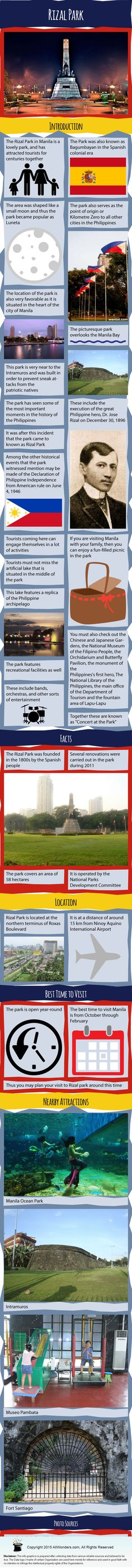 Rizal Park Infographic showing facts and information about Rizal Park in Manilla, Philippines. Also know about its Best time to visit, nearby attractions and more.