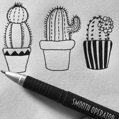 Pin by tracy (tandy) anderson on zentangles & doodles pinter Doodle Drawings, Easy Drawings, Doodle Art, Drawing Sketches, Cactus Drawing, Cactus Art, Bordados E Cia, Sharpie Art, Doodles Zentangles