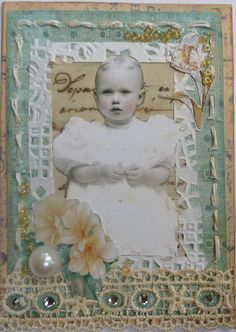 Vintage baby card (shabby chic) (mk) pinned this because never thought of framing a picture with this kind of outline.