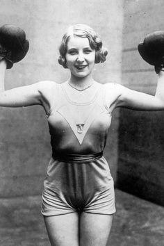 Irishwoman Elsie Connor, boxing champion at Broadway, New York City, August 5, 1931