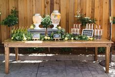 Beverage table from a Rustic Lemon Themed Baby Shower on Kara's Party Ideas | KarasPartyIdeas.com (22) Baby Shower Parties, Baby Shower Drinks, Boy Baby Shower Themes, Baby Shower Gender Reveal, Shower Party, Baby Shower Decorations, Baby Boy Birthday Themes, Birthday Parties, Table Decorations