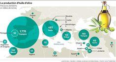 Production d'huile d'olive autour du bassin méditerranéen.