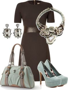 """aqua and chocolate"" by sagramora ❤ liked on Polyvore"