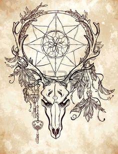 tete mexicaine: Bel art crâne de tatouage. Vintage, cerfs, élans, taureau…
