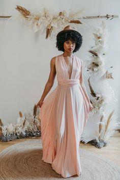 Long Dress Blush — We Are Flowergirls Blush Bridesmaid Dresses, Bridesmaid Outfit, Bridesmaids, Ibiza Wedding, Convertible Dress, Long Jumpsuits, Jumpsuit Dress, Slow Fashion, Drapery Wedding