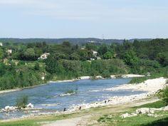 le Gard river - taken from the roman aquaduct (Pont du Gard, France)