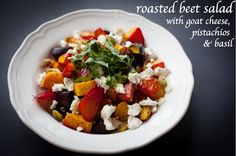 A great summer recipe for Roasted Beet Salad with Goat Cheese and Pistachios! #recipe