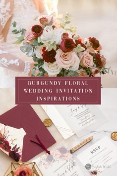 Burgundy and blush floral pattern is so beautiful and elegant in this wedding invitation. The matching silk ribbon and outer envelop make it more attractive. #weddingideas#weddinginvitations#stylishwedd #stylishweddinvitations #vellumweddinginvitations#springwedding#summerwedding#2021wedding