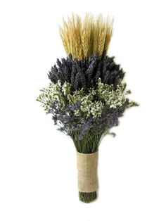 Organically Dried Lavender  with Wheat Wedding Bouquet - Bridal bouquet -Bridesmaid bouquet MADE TO ORDER! on Etsy, $48.17 AUD
