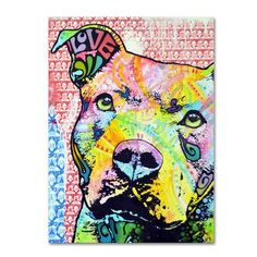 """Trademark Art 'Thoughtful Pitbull II' by Dean Russo Painting Print on Canvas Size: 32"""" H x 26"""" W x 2"""" D"""