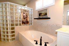 Transitional Full Bathroom with Daltile Decora Glass Block, Corian counters…