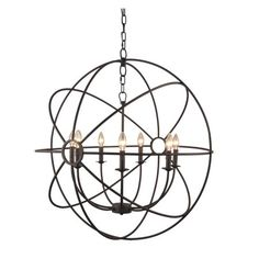 Yosemite Home Decor Shooting Star 7-Light Mini Chandelier - 32.7W in. - Rustic Finish - Walmart.com
