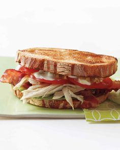 Tangy blue cheese, bacon, and crisp lettuce combine with shredded chicken breast in this hearty sandwich, which can be made using reserved extra ingredients from our Cobb Salad.