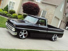 1966 Chevy C10 Black | Awesome Pro-touring Style 66' C-10 Cold Ac - 4-wheel Disc Brakes - 20 ...