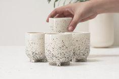 Plus- Ceramic esspreso cup in white and black dots pattern