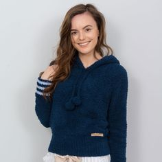 Abigail - Boucle Hoodie With Stripes - Navy A