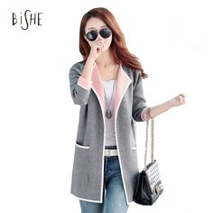 BiSHE Long Sweaters 2017 Women New Autumn All-match Patchwork Full sleeve Slim Pocket Knitted Medium Long Cardigan Sweater M-4XL