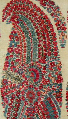 1800 century indian mugal Kashmir shawl fragment / floral paisley