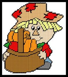 LIL SCARECROW WITH BASKET by TRICIA -- WALL HANGING 1/2