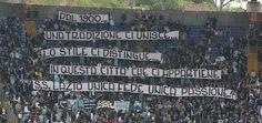 #Striscione dei tifosi laziali in @officialsslazio-@OfficialASRoma durante il campionato di calcio @SerieA_TIM 2009-2010