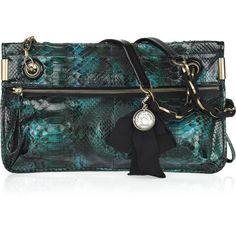 Lanvin Amalia Python Shoulder Bag ❤ liked on Polyvore featuring bags, handbags, shoulder bags, clutches, purses, bolsas, accessories, women, zip shoulder bag and turquoise purse