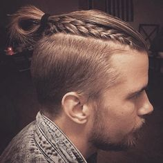"Best Men's Hairstyles for Long Hair 2015 . , a man bun undercut provides a fresh and yet-to-be-super-mainstream male hair look that is ahead of the ""bunned"" long-hair trend. I searched for this on /images Top Hairstyles For Men, New Braided Hairstyles, Popular Mens Hairstyles, Mens Braids Hairstyles, 2015 Hairstyles, Popular Haircuts, Cool Hairstyles, Hairstyle Ideas, Viking Hairstyles Male"