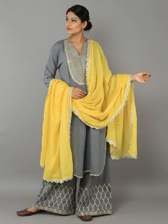 Grey Yellow Cotton Gota Suit by the loom w loose straight pants