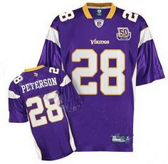 Designer Minnesota Vikings Adrian Peterson 28 Purple Jersey 1961-2010 50th  Patch Football Gear a24a56d62