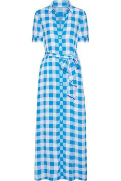 EXCLUSIVE AT NET-A-PORTER.COM. Reese Witherspoon's label Draper James is a celebration of her Southern upbringing. This azure and white maxi dress is cut from lightweight crepe de chine that's patterned with the brand's 'Parton' gingham - an homage to the American country singer. Cinch the belt to define your waist.
