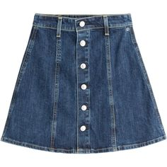 Alexa Chung for AG - Kety Denim Skirt ($245) ❤ liked on Polyvore featuring skirts, bottoms, denim, blue, women, blue denim skirt, denim button skirt, button skirt, blue skirt and denim skirt