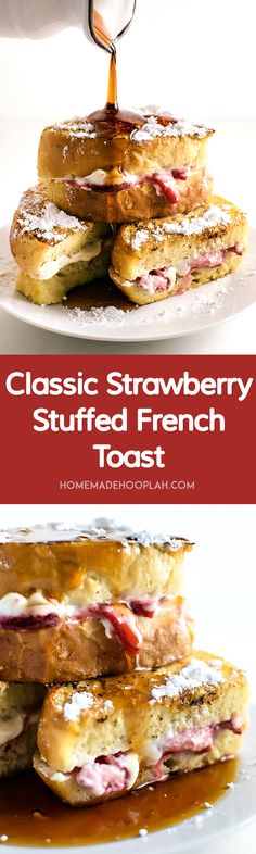 Classic Strawberry Stuffed French Toast Vanilla and cinnamon french toast stuffed with sweet cream cheese filling and sugar coated strawberries The classic indulgent brea. Breakfast And Brunch, Breakfast Dishes, Best Breakfast, Breakfast Recipes, Breakfast Healthy, Strawberry Breakfast, Breakfast Ideas, Strawberry French Toast, Strawberry Filling