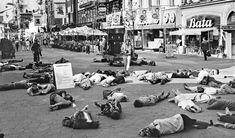 """Hiroshima Day in Sweden on South Street """"Strøget"""" August 6, 1987 in Malmö. Speakers broadcast bomb sounds and everyone fell to the ground"""
