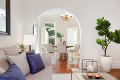 Spacious Renovated Terrace, Large interconnected living and dining rooms, styling, pot plant, archway, throw cushions, wall art, ornaments, Pilcher Residential